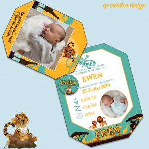 Fairepart de naissance du petit Ewen sur le thème du lionceau