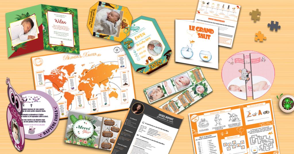 Catalogue de créations sur mesure : faire-parts, mariage, naissance, baptême... réalisés sur mesure par notre infographiste
