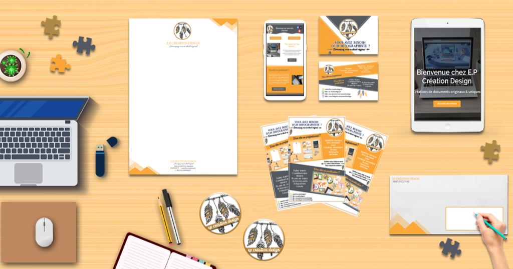 identité visuelle EP Création Design, réalisez votre propre identité avec un échange unique avec notre infographiste