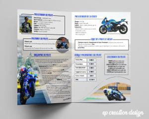 Livret créé pour un futur motard qui cherche de nouveaux sponsors - recto