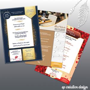 Différents menus créés pour la Saint Valentin