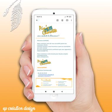 Pour l'envois de mail, l'entete et la signature mails peuvent être personnalisés à l'image de l'entreprise