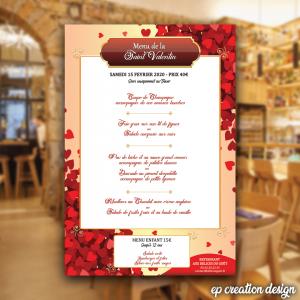 Menu Saint Valentin, thème amour & coeurs proposé à un restaurant