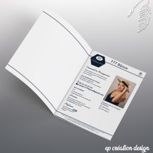 Dernière page de la brochure qui présente les coordonnées de l'entreprise ainsi que les informations obligatoires