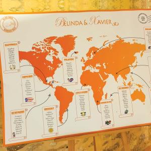 Plan de table de mariage thème voyage, format carte du monde