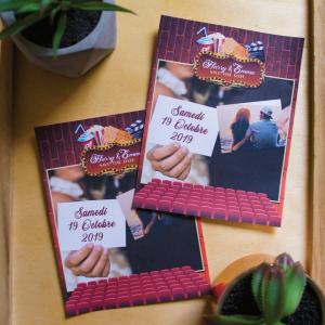 Save the Date de Mariage sur le thème du Cinéma, format carte postale avec votre plus belle photo de couple